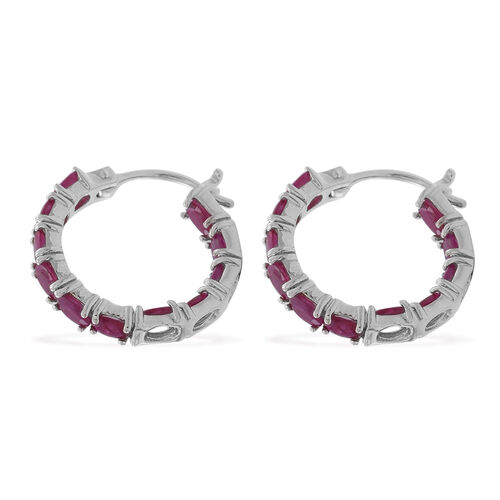 Burmese Ruby (Ovl) Hoop Earrings (with Clasp) in Rhodium Plated Sterling Silver 5.000 Ct.