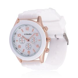Designer Inspired STRADA Rose Gold Tone Watch with White Silicone Strap with Gift Paking Box