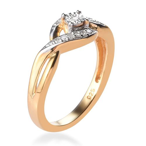 Diamond Bypass Promise Silver Ring in 14K Gold Overlay 0.050 Ct
