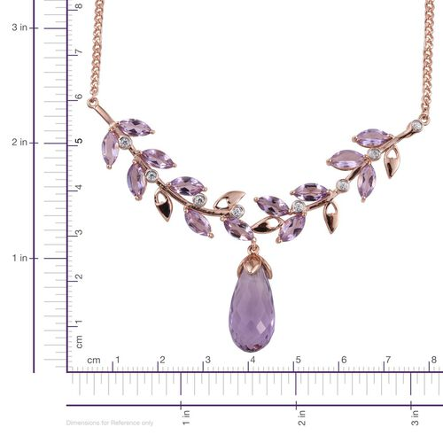 Rose De France Amethyst and Natural Cambodian Zircon Necklace (Size 18) in Rose Gold Overlay Sterling Silver 21.750 Ct.
