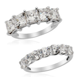 J Francis - Platinum Overlay Sterling Silver (Sqr) Set of 2 Stacking Ring  Made with SWAROVSKI ZIRCONIA 5.300 Ct.