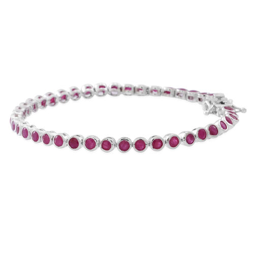 AA Burmese Ruby (Rnd) Bracelet (Size 8) in Rhodium Plated Sterling Silver 6.750 Ct.