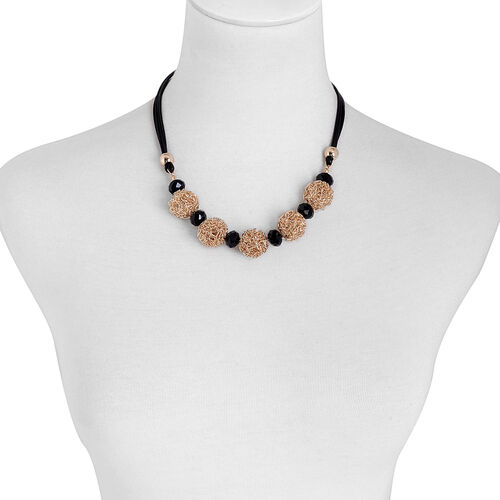 Simulated Black Spinel Necklace (Size 18) in Gold Tone