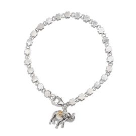 Elephant Goodluck Charm Silver Bracelet in Rhodium Plated Size 7.5, 7.49 Gms.