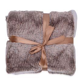 Superfine Luxury Grey Owl Faux Fur Reversible Double Layer Sherpa Blanket (200x150 cm)