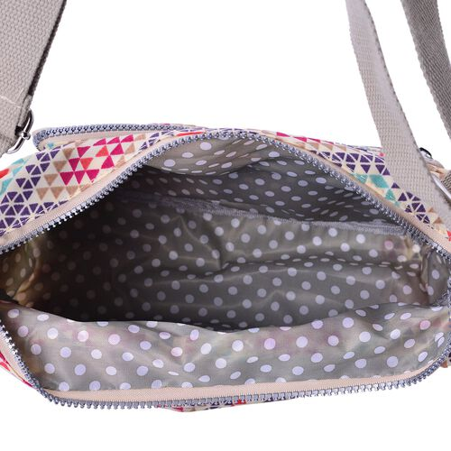 Cream and Multi Colour Diamond Pattern Waterproof Sports Bag with External Zipper Pocket and Adjustable Shoulder Strap (Size 27X23X10.5 Cm)