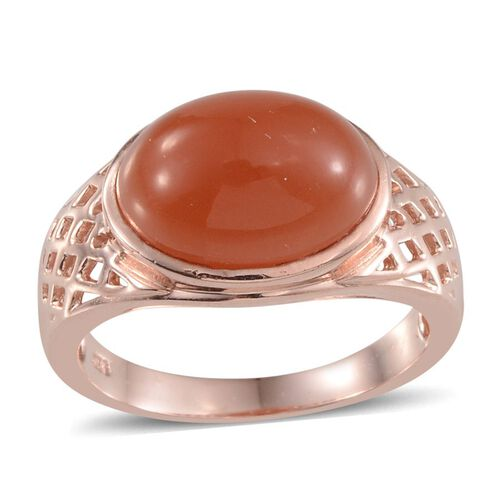 Mitiyagoda Peach Moonstone (Ovl) Solitaire Ring in Rose Gold Overlay Sterling Silver 4.750 Ct.
