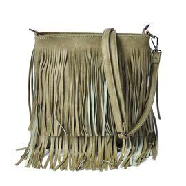 Light Green Colour Crossbody Bag with Fringes and Adjustable, Removable Shoulder Strap (Size 26x24.5 Cm)