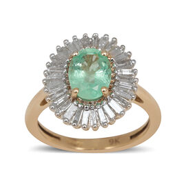 9K Y Gold Boyaca Colombian Emerald (Ovl 1.00 Ct), Diamond Ring 1.500 Ct.