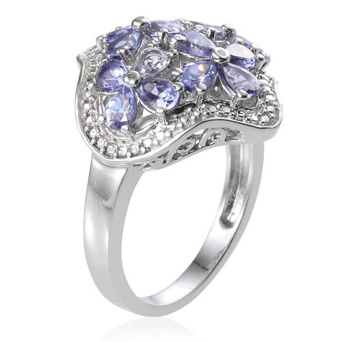 Tanzanite (Pear), Diamond Floral Ring in Platinum Overlay Sterling Silver 2.270 Ct.