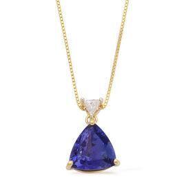 ILIANA 18K Y Gold AAA Tanzanite (Trl 2.75 Ct), Diamond Pendant With Chain 2.850 Ct.