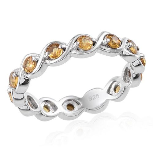 Yellow Sapphire (Rnd) Full Eternity Ring in Platinum Overlay Sterling Silver 1.250 Ct.