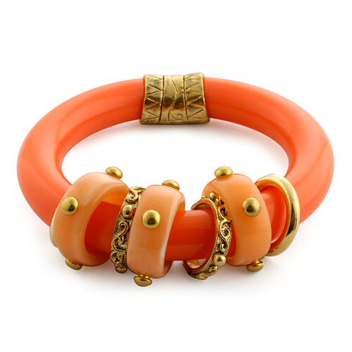Orange Resin Bangle in Goldtone (Size 7.5)