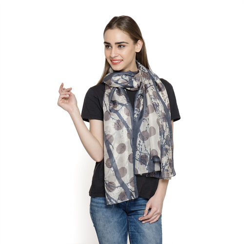 100% Mulberry Silk Grey and Multi Colour Abstract Pattern Printed Pareo (Size 180x100 Cm)
