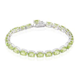 Hebei Peridot (Ovl) Bracelet (Size 6.5) in Platinum Overlay Sterling Silver 18.750 Ct. Silver wt 8.37 Gms.