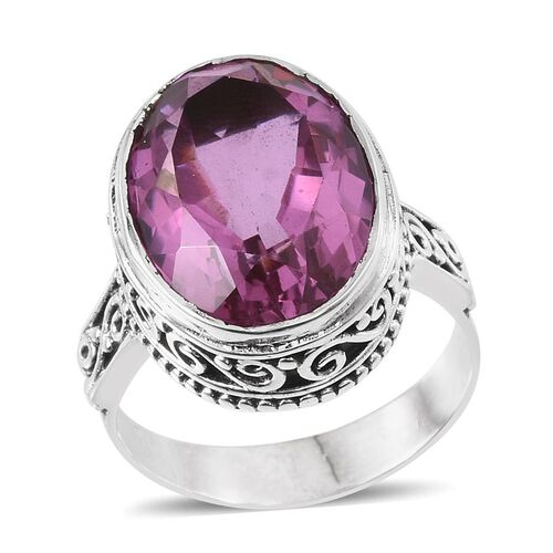 Kunzite Colour Quartz (Ovl) Ring in Sterling Silver 13.300 Ct.