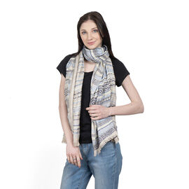 100% Viscose Beige and Dark Blue Colour Pattern Scarf (Size 180X65 Cm)