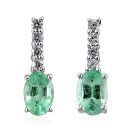 9K White Gold Boyaca Colombian Emerald (Ovl), Natural Cambodian Zircon Earrings (with Push Back) 1.150 Ct.