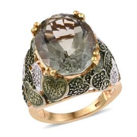 Green Amethyst (Ovl), Diamond Ring in 14K Gold Overlay Sterling Silver 15.500 Ct.