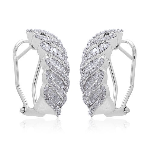 Diamond (Bgt) Earrings (with French Clip) in Platinum Overlay Sterling Silver 1.000 Ct.