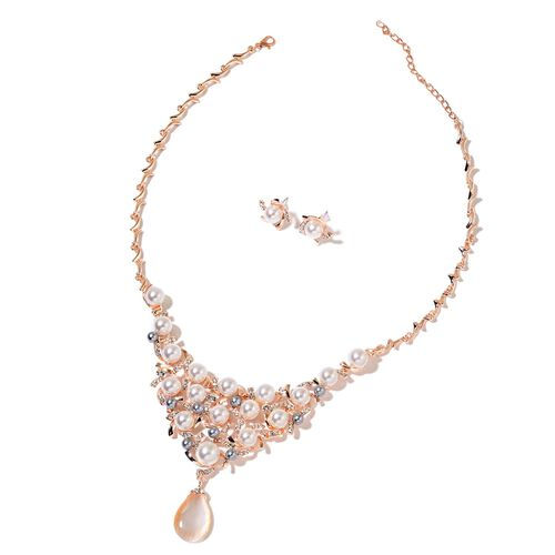 Simulated White Cats Eye, Simulated Pearl and White Austrian Crystal BIB Necklace (18 with 3 inch Extender) and Floral Stud Earrings (with Plastic Push Back) in Rose Gold Tone