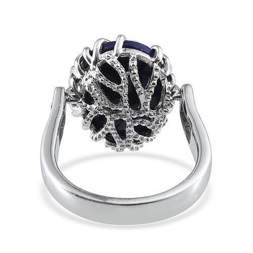 GP Lapis Lazuli (Ovl 8.85 Ct), Kanchanaburi Blue Sapphire Ring in Platinum Overlay Sterling Silver 8.900 Ct.