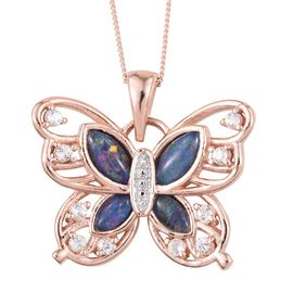 Australian Boulder Opal (Mrq), White Topaz Butterfly Pendant with Chain in Rose Gold Overlay Sterling Silver 1.750 Ct.