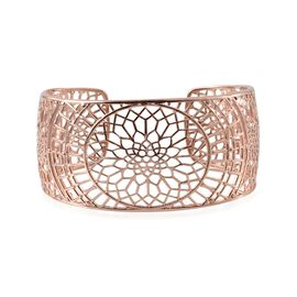 London Heritage Collection ION Plated 18K Rose Gold Bond Cuff Bangle (Size 7.5)
