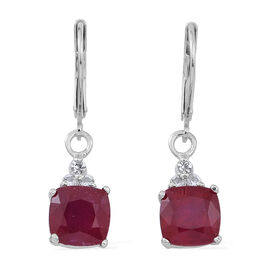 African Ruby (Cush), White Topaz Lever Back Earrings in Rhodium Plated Sterling Silver 6.500 Ct.