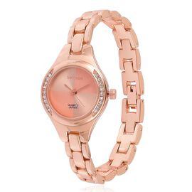 STRADA Japanese Movement Sunshine Pattern Rose Dial with White Austrian Crystal Water Resistant Watch in Rose Gold Tone with Stainless Steel Back and Chain Strap