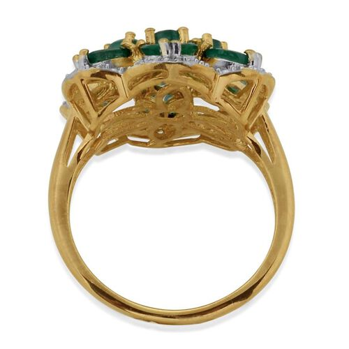 Kagem Zambian Emerald and Diamond 14K Gold Overlay Sterling Silver Ring  1.500 Ct.