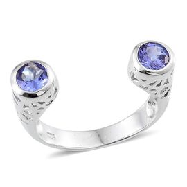 Tanzanite (Rnd) Open Ring in Platinum Overlay Sterling Silver 1.000 Ct.