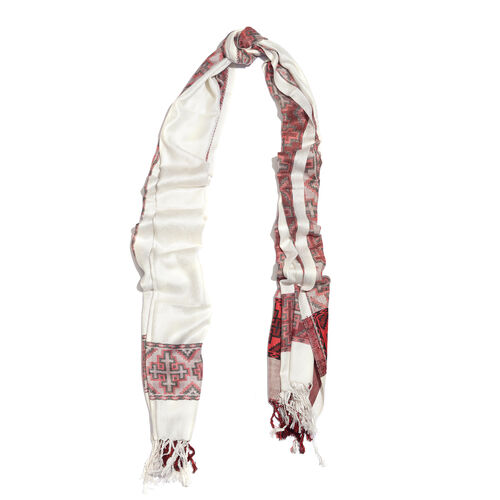 White, Red and Black Colour Jacqaurd Scarf with Fringes (Size 200x70 Cm)