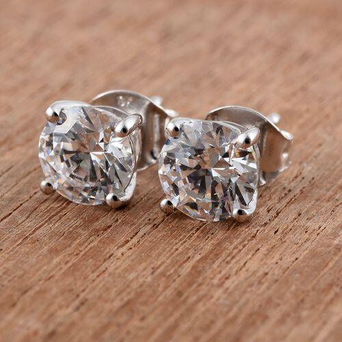9K White Gold Round Stud Earrings (with Push Back) Made with SWAROVSKI ZIRCONIA