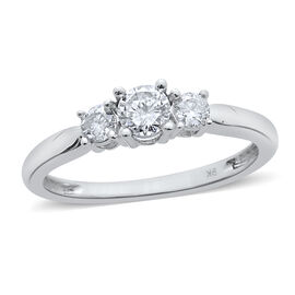 9K W Gold SGL Certified Diamond (Rnd 0.50 Ct) (I3/ G-H) 3 Stone Ring 1.000 Ct.
