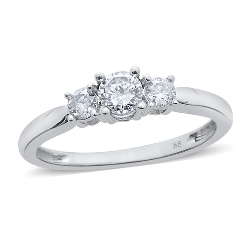 9K White Gold SGL Certified Diamond (Rnd 0.50 Ct) (I3/G-H) 3 Stone Ring 1.000 Ct.