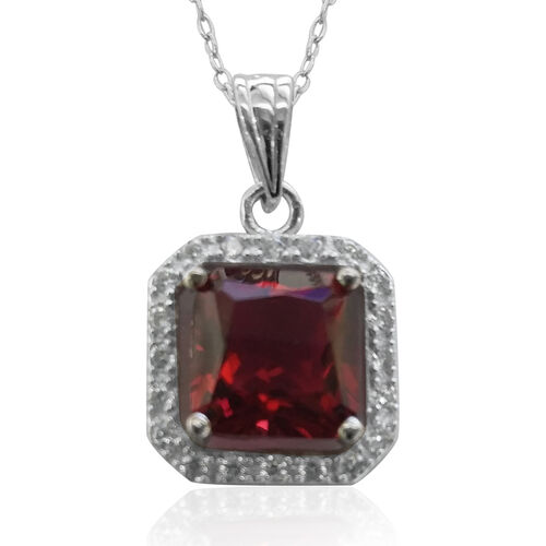 ELANZA AAA Simulated Ruby (Sqr), Simulated Diamond Pendant With Chain in Rhodium Plated Sterling Silver