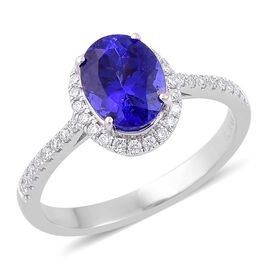 ILIANA 18K W Gold AAA Tanzanite (Ovl 1.90 Ct), Diamond Ring 2.150 Ct.