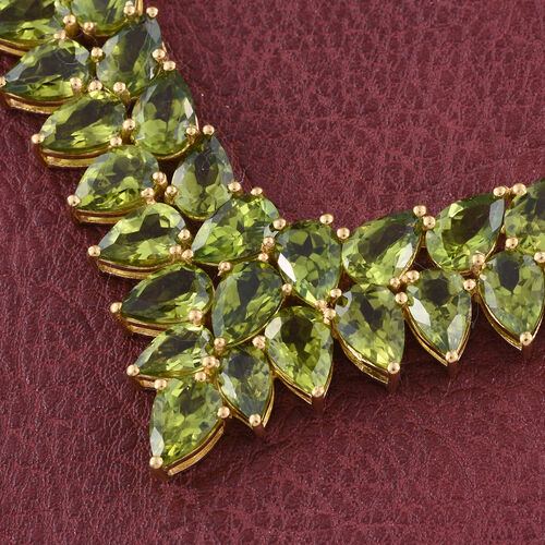Limited Edition-AAA Hebei Peridot (Pear) Necklace (Size 18) in 14K Gold Overlay Sterling Silver 38.00 Ct. Silver wt 12.40 Gms.
