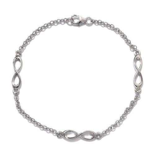 Platinum Overlay Sterling Silver Infinity Bracelet (Size 7.5), Silver wt 3.75 Gms.