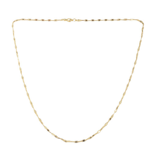 Close Out Deal 14K Gold Overlay Sterling Silver Flat Marinar Chain (Size 18), Silver wt 4.80 Gms.