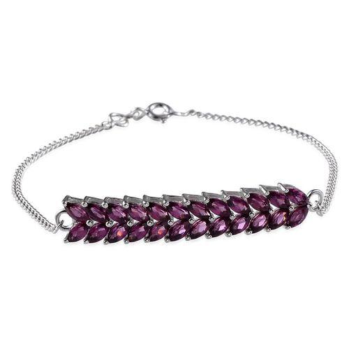 Orissa Rhodolite Garnet (Mrq) Bracelet in Platinum Overlay Sterling Silver (Size 7.5) 4.250 Ct.