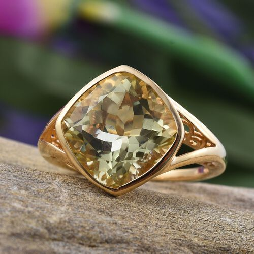 Natural Ouro Verde Quartz (Cush) Solitaire Ring in 14K Gold Overlay Sterling Silver 10.000 Ct.