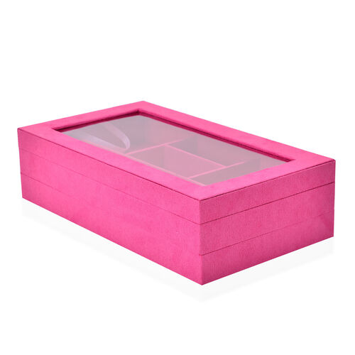 Fuchsia Colour Velvet 2 Stackes Jewelry Box with Removable 110 Ring Slots Tray (Size 37x21x10 Cm)
