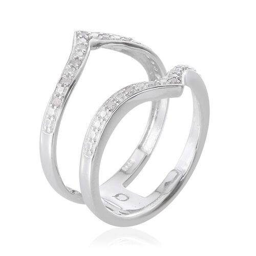 Diamond (Rnd) Chevron Ring in Platinum Overlay Sterling Silver 0.100 Ct.