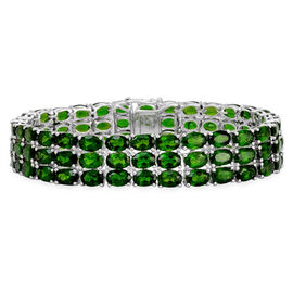 Russian Diopside (Ovl) Bracelet in Platinum Overlay Sterling Silver (Size 8) 50.000 Ct.