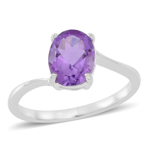 Amethyst (Ovl) Solitaire Ring in Sterling Silver 1.500 Ct.