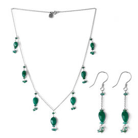 Boyaca Colombian Emerald Necklace (Size 18) and Earrings in Platinum Overlay Sterling Silver 20.530 Ct.