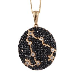 Night Sky Boi Ploi Black Spinel, White Topaz Silver Pendant With Chain in 14K Gold Overlay 2.750 Ct.