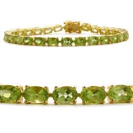 Hebei Peridot (Ovl) Bracelet in Yellow Gold Overlay Sterling Silver (Size 8) 15.750 Ct.
